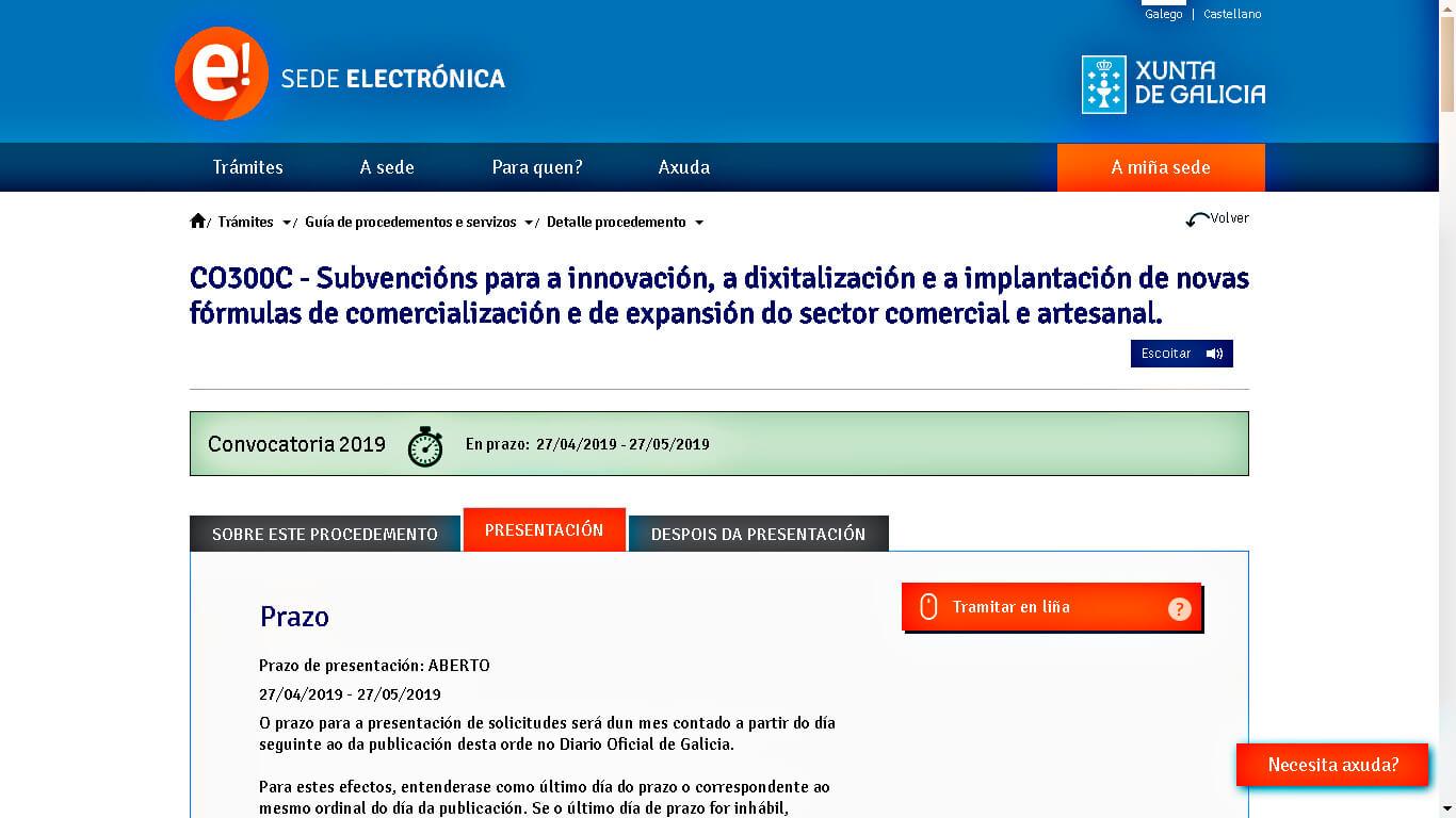 Subvención WEB 2019 Xunta de Galicia